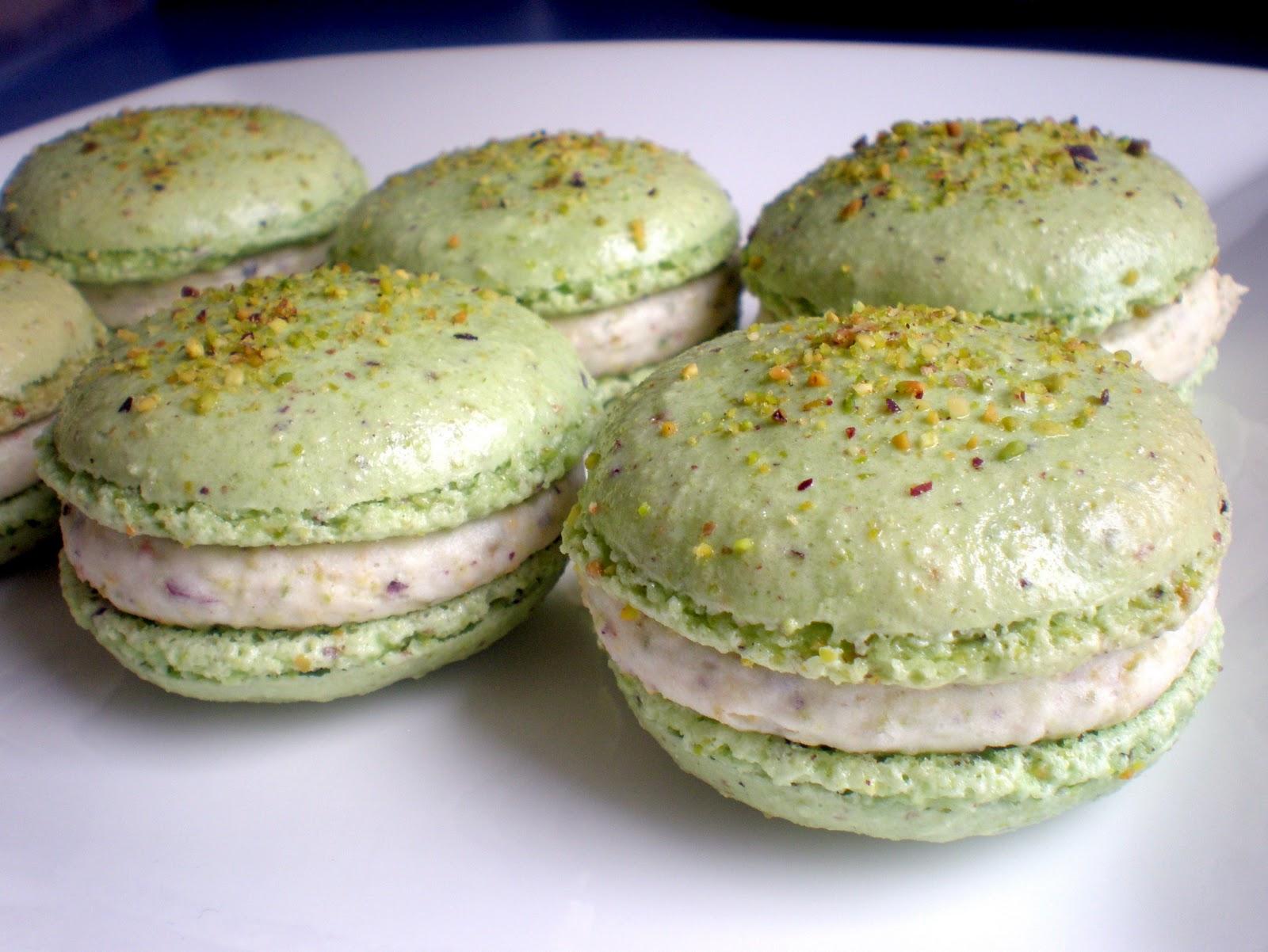 macarons green tea macarons and 4 pans of macarons pistachio macarons ...